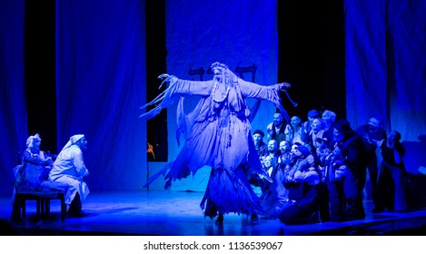 New York, NY - July 15, 2018: The Dream scene during premiere of musical Fiddler on the Roof in Yiddish at Museum of Jewish Heritage