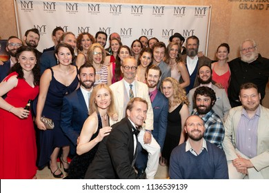 New York, NY - July 15, 2018: Director Joel Grey and National Yiddish Theatre Folksbiene cast pose after premiere of musical Fiddler on the Roof in Yiddish at Museum of Jewish Heritage