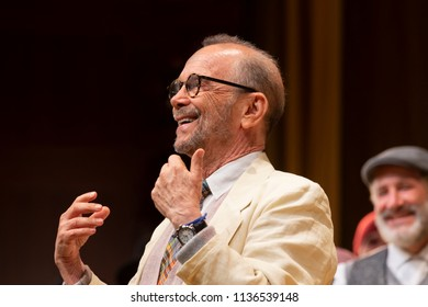 New York, NY - July 15, 2018: Director Joel Grey addresses audience during premiere of musical Fiddler on the Roof in Yiddish at Museum of Jewish Heritage