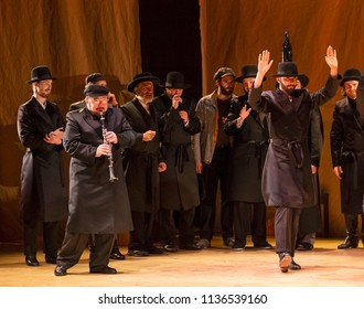 New York, NY - July 15, 2018: Cast perform dance during premiere of musical Fiddler on the Roof in Yiddish at Museum of Jewish Heritage