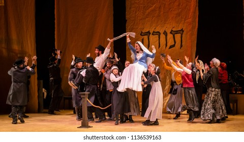 New York, NY - July 15, 2018: Wedding scene during premiere of musical Fiddler on the Roof in Yiddish at Museum of Jewish Heritage