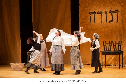 New York, NY - July 15, 2018: Matchmaker scene during premiere of musical Fiddler on the Roof in Yiddish at Museum of Jewish Heritage