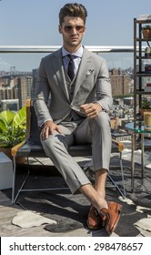 NEW YORK, NY - JULY 16, 2015: Model Ryan Allan poses at Hickey Freeman presentation as part of New York Fashion Week Men's S/S 2016 at The Standard, East Village