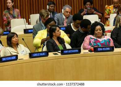 New York, NY - July 18, 2018: Lorelei Salas, Penny Abeywardena and Edna Molewa attend Annual Nelson Mandela International Day meeting at United Nations Headquarters