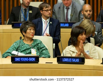 New York, NY - July 18, 2018: Dho Young-Shim and Lorelei Salas attend Annual Nelson Mandela International Day meeting at United Nations Headquarters