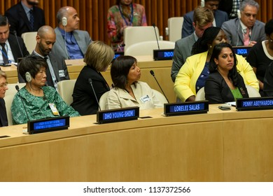 New York, NY - July 18, 2018: Dho Young-Shim, Lorelei Salas and Penny Abeywardena attend Annual Nelson Mandela International Day meeting at United Nations Headquarters