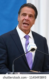 NEW YORK, NY - JULY 18, 2018: New York Governor Andrew Cuomo attends a press conference in honor of Billy Joel's 100th concert at Madison Square Garden on July 18, 2018, in New York.