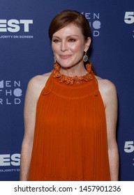 """New York, NY - July 20, 2019: Julianne Moore wearing dress by Chloe attends New York premiere of """"After the Wedding"""" during 51/Fest at IFC Center"""
