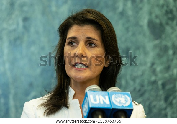 New York, NY - July 20, 2018: U.S. Ambassador to UN Nikki Haley speaks during press encounter on North Korea denuclearization at UN Headquarters