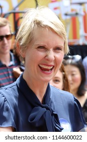 NEW YORK, NY - JULY 21, 2018:  Cynthia Nixon attends OZY Fest in Central Park on July 21, 2018, in New York.