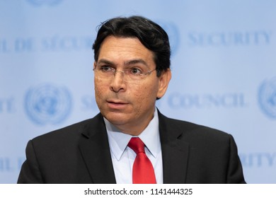 New York, NY - July 24, 2018: Israeli ambassador to the United Nations Danny Danon speaks to press before UN Security Council meeting on Israeli-Palestinian conflict at UN Headquarters