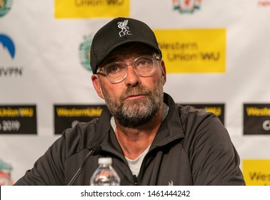New York, NY - July 24, 2019: Liverpool FC head coach Jurgen Klopp attends press conference after pre-season game against Sporting CP at Yankee stadium Game ended in draw 2 - 2