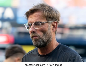 New York, NY - July 24, 2019: Liverpool FC head coach Jurgen Klopp as seen on pitch before pre-season game against Sporting CP at Yankee stadium Game ended in draw 2 - 2