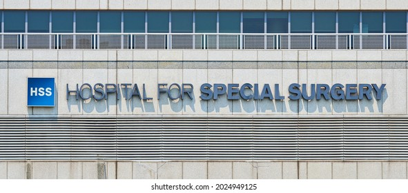 New York, NY - July 27, 2021: Lettering and logo mounted on facade of Hospital for Special Surgery (HSS) building in the Upper East Side of Manhattan, NYC