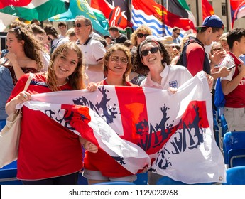 New York, NY - July 7, 2018: English fans celebrate victory after 2018 FIFA World Cup Russia match between Sweden and England sponsored by Telemundo Deportes at Rockefeller Center
