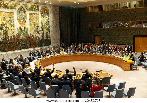 New York, NY - July 9, 2018: Children and armed conflict the topic of Security Council Meeting at United Nations