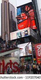 NEW YORK, NY - JUN 28: Times Square, featured with Broadway Theaters and animated LED signs, is a symbol of New York City and the United States, on Jun 28, 2015, in Manhattan, New York City (USA).