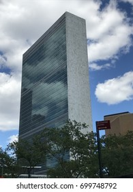 NEW YORK, NY - JUN 3: United Nations (UN) headquarters in New York City, seen on June 3, 2017. The complex has served as the official headquarters of the United Nations since its completion in 1952.