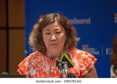 NEW YORK, NY - JUNE 04: U.S. Representative Grace Meng speaks to healthcare workers at Elmhurst Hospital in Queens on June 4, 2021 in New York City.