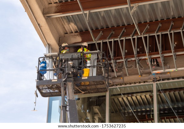 NEW YORK, NY - JUNE 10: Construction work is seen ongoing at LaGuardia Airport on June 10, 2020 in New York City.  Construction of new redesigned airport has been accelerated during COVID-19 pandemic.