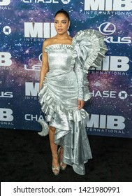 New York, NY - June 11, 2019: Tessa Thompson wearing dress by Rodarte attends Men in Black: International premiere at AMC Lincoln Center
