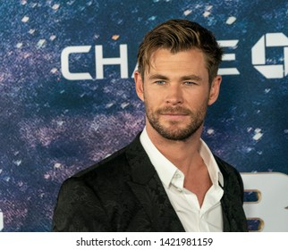 New York, NY - June 11, 2019: Chris Hemsworth in Dolce & Gabbana suit attends Men in Black: International premiere at AMC Lincoln Center