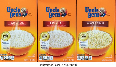 New York, NY - June 17, 2020: Uncle Ben's owner Mars is planning to change brand identity in response to #BLM movement. Uncle Ben's products seen on shelves of Garden Gourmet Market in the Bronx