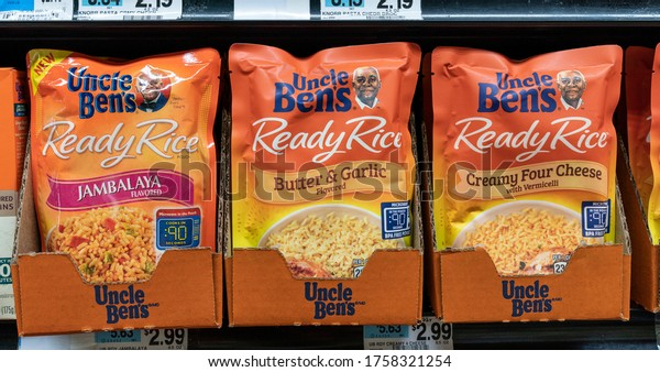 New York, NY - June 17, 2020: Uncle Ben's owner Mars is planning to change brand identity in response to #BLM movement. Uncle Ben's products seen on shelves of Foodtown Supermarket in the Bronx