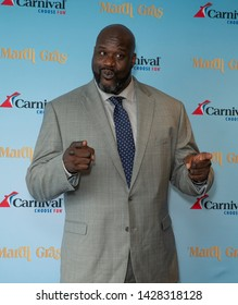New York, NY - June 18, 2019: Carnival Cruise Line and Carnival's Chief Fun Officer Shaquille O'Neal host a deck party to celebrate Mardi Gras, Carnival's newest ship at Chelsea Piers Current