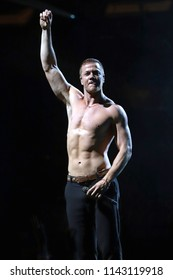 NEW YORK, NY - JUNE 19, 2018: Dan Reynolds of Imagine Dragons performs in concert at Madison Square Garden on June 19, 2018, in New York.