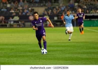New York, NY - June 2, 2018: Tony Rocha (8) of Orlando City SC controls ball during regular MLS game against NYCFC on Yankee stadium NYCFC won 3 - 0