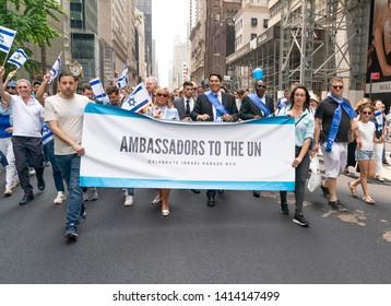 New York, NY - June 2, 2019: Israeli Permanent Representative to UN Ambassador Danny Danon marches on 55th Celebrate Israel Parade in New York on 5th Avenue