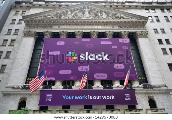 NEW YORK, NY - JUNE 20, 2019: The Slack Technologies Initial Public Offering (IPO) banner is seen on the New York Stock Exchange.