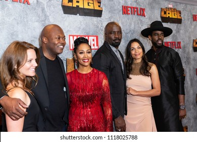 New York, NY - June 21, 2018: Allie Goss, Cheo Hodari Coker, Simone Missick, Mike Colter, Rosario Dawson, Mustafa Shakir attend the Luke Cage Season 2 premiere at The Edison Ballroom