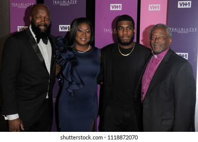 NEW YORK, NY - JUNE 21: Tracy Martin,Sybrina Fulton, Jahvaris Fulton and Michael Curry attend the 2018 VH 1 Trailblazer Honors at Cathedral of St. John the Divine on June 21, 2018 in New  York City.