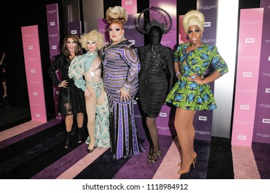 New York, NY - June 21, 2018: Kameron Michaels, Aquaria, Eureka O'Hara, Asia O'Hara, Monet X Change attend VH1 Trailblazer Honors 2018 at The Cathedral of St. John the Divine