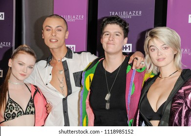 New York, NY - June 21, 2018: Cory Wade (2nd L) and Rain Fove (2nd R) attend VH1 Trailblazer Honors 2018 at The Cathedral of St. John the Divine