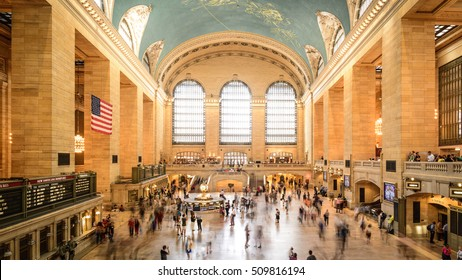 NEW YORK, NY, June 21, 2016: commuters and tourists in the grand central station in June 21, 2016 in New York. It is the largest train station in the world by number of platforms: 44, with 67 tracks