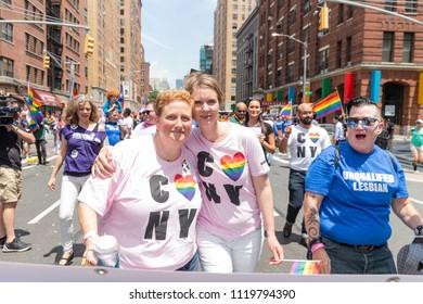 New York, NY - June 24, 2018: Christine Marinoni & Cynthia Nixon attend 49th annual New York pride parade along 7th avenue