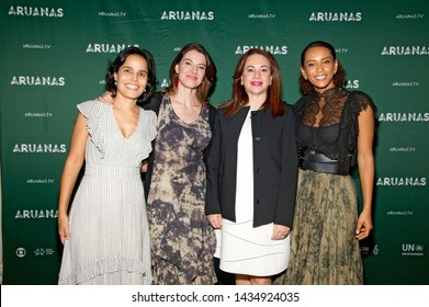"""NEW YORK, NY - JUNE 24: Ana Lucia Villela, Estela Renner, Maria Fernanda Espinosa Garces and Tais Araujo attend the """"Aruanas"""" New York premiere at The Angelika Film Centre on June 24, 2019 in NYC."""