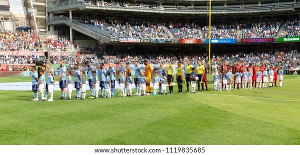 New York, NY - June 24, 2018: Opening ceremony before regular MLS game between NYCFC & Toronto FC at Yankee stadium NYCFC won 2 - 1