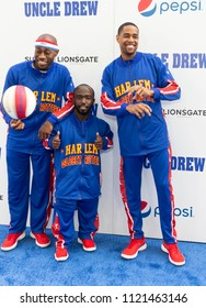 New York, NY - June 26, 2018: Tay Firefly Fisher,Jahmani Hot Shot Swanson and Brawley Cheese Chisholm of Harlem Globetrotters attend the Uncle Drew New York Premiere at Alice Tully Hall Lincoln Center