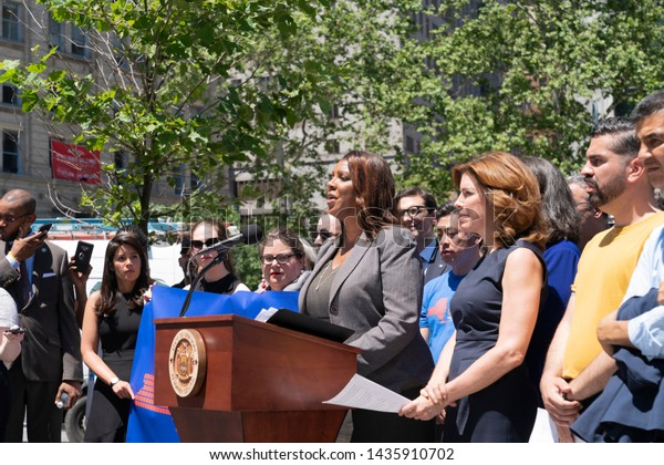 New York, NY - June 27, 2019: NY State Attorney General Letitia James speaks at press conference to react on Supreme Court ruling on the U.S. Census citizenship question at Foley Square