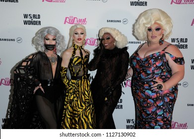 NEW YORK, NY - JUNE 28: (L-R) Kameron Michaels, Aquaria, Asia O' Hara and Eureka O'Hara attend the 'Ru Paul's Drag Race' Season 10 Finale at Samsung 837 on June 28, 2018 in New York City.