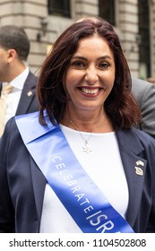 New York, NY - June 3, 2018: Minister of Culture Miri Regev attends Celebrate Israel Parade on theme 70 & Sababa (70 & Awesome) on 5th Avenue in Manhattan