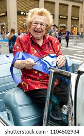 New York, NY - June 3, 2018: Dr. Ruth Westheimer attends Celebrate Israel Parade on theme 70 & Sababa (70 & Awesome) on 5th Avenue in Manhattan