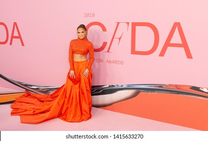 New York, NY - June 3, 2019: Jennifer Lopez wearing dress by Ralph Lauren attends 2019 CFDA Fashion Awards at Brooklyn Museum