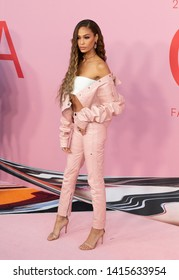New York, NY - June 3, 2019: Joan Smalls wearing dress by Pyer Moss attends 2019 CFDA Fashion Awards at Brooklyn Museum