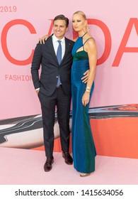 New York, NY - June 3, 2019: Archie Drury and Karolina Kurkova wearing dress by Tommy x Zendaya attends 2019 CFDA Fashion Awards at Brooklyn Museum