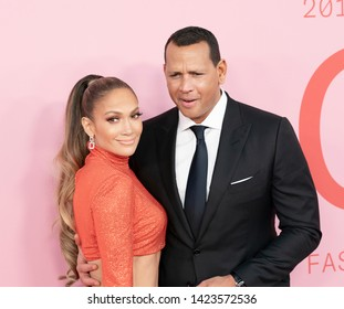 New York, NY - June 3, 2019: Jennifer Lopez wearing dress by Ralph Lauren and Alex Rodriguez attends 2019 CFDA Fashion Awards at Brooklyn Museum